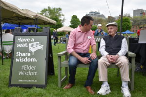 George shares #ElderWisdom on the green bench
